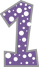 Number 1 Dark Purple And Grey Polkadot Clip Art