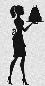 Silhouette Lady Cake Birthday Invitations Image