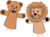 Bear And Lion Hand Puppets Clip Art