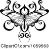 Royalty Free Vector Clip Art Illustration Of A Black And White Butterfly Tattoo Design Image