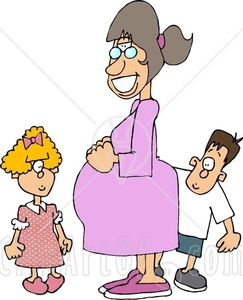 Happy Pregnant Mother Standing With Her Daughter And Son Clipart Image