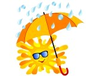 Happy Sun With The Orange Umbrella Image
