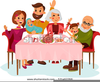 Family Meal Table Clipart Image