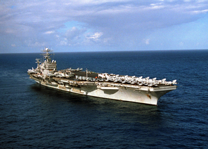 Aerial View Of The Nuclear Powered Aircraft Carrier Theodore Roosevelt With Her Embarked Carrier Air Wing Eight (cvw-8). Image