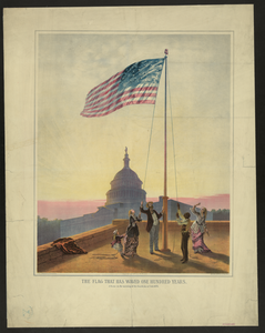 The Flag That Has Waved One Hundred Years--a Scene On The Morning Of The Fourth Day Of July 1876  / Fabronius ; E.p. & L. Restein S Oilchromo, Phila. ; National Chromo Co. Pub., Phila. Image