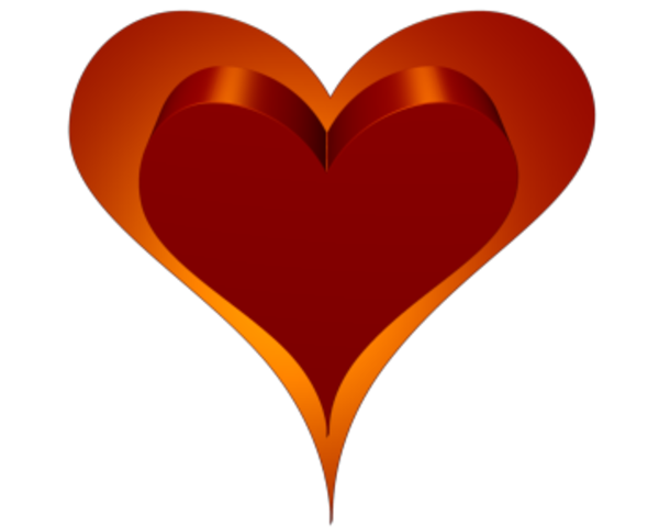 Clip Art Line Of Hearts : Heart d double red orange outside transparent free images