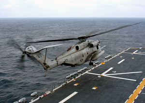 A Ch-53e Super Stallion Launches From The Flight Deck Of The Amphibious Assault Ship Uss Saipan (lha-2) During Flight Deck Certification. Image