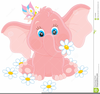 Pink Baby Elephant Clipart Image