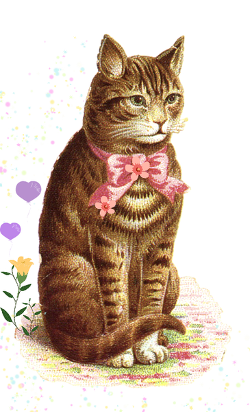 Vintage Clipart Classic Tabby Cat With Pink Bow | Free ...