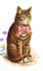 Vintage Clipart Classic Tabby Cat With Pink Bow Image