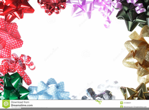 blue christmas bow clipart image