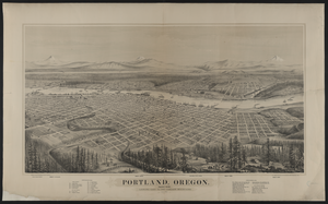 Portland, Oregon, Population 22,000, Looking East To The Cascade Mountains  / Drawn And Published By E.s. Glover ; A.l. Bancroft & Co., Lithographers, San Francisco, Cal. Image