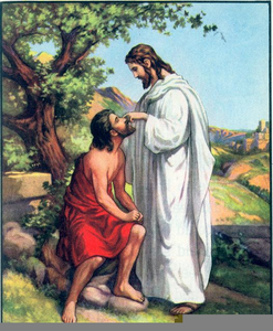 Clipart Of Jesus Healing The Blind Man Image