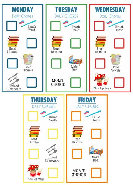 Free Printable Chore Charts - Amy's Wandering