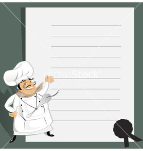 Chef With Menu And Recipe Vector Image