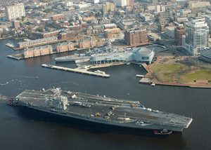 Uss George Washington (cvn 73) Passes By Uss Wisconsin (bb 64). Image
