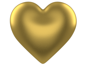 Heart D Puff Gold Transparent Background Image