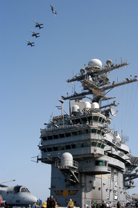 A Division Of F/a-18c Hornets Assigned To Carrier Air Wing Seven (cvw-7), Fly Into The Break Over Uss George Washington (cvn 73) As They Prepare For Landing. Image