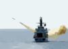 British Frigate Hms Richmond (f-239) Launches An Agm-84a  Harpoon  Missile Clip Art