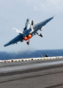 Hornet Launches From One Of Four Steam Powered Catapults On The Ship S Flight Deck Image