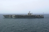 Uss Abraham Lincoln (cvn 72) Steams Alongside Uss Nimitz (cvn 68) During Weapons And Cargo Transfers Between The Two Ships. Image