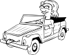 Girl Driving Car Cartoon Outline Clip Art