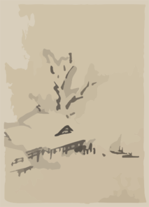 [buildings And Large Tree On The Waterfront, With Two Boats Anchored Offshore] Clip Art