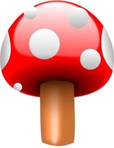 Red Mushroom With White Dots Clip Art