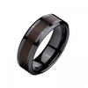 Mm Comfort Fit Black Ceramic Ring With Wood Image
