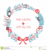 Vintage Christmas Wreath Clipart Image