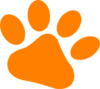 Orange Pet Paw 2 Clip Art