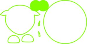 Sheep Lime Green Outline Clip Art