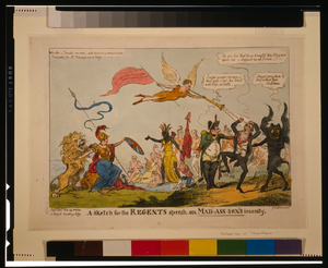 A Sketch For The Regents Speech On Mad-ass-son S Insanity  / G. Cruikshank Fet. Image