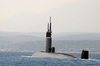 The Uss Hampton (ssn  767) Departs Souda Harbor Following A Brief Port Visit To Souda Bay, Crete Image