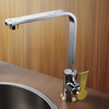 Chrome Finish Modern Design Gold Handle Right Angled Heightening Kitchen Faucet Image
