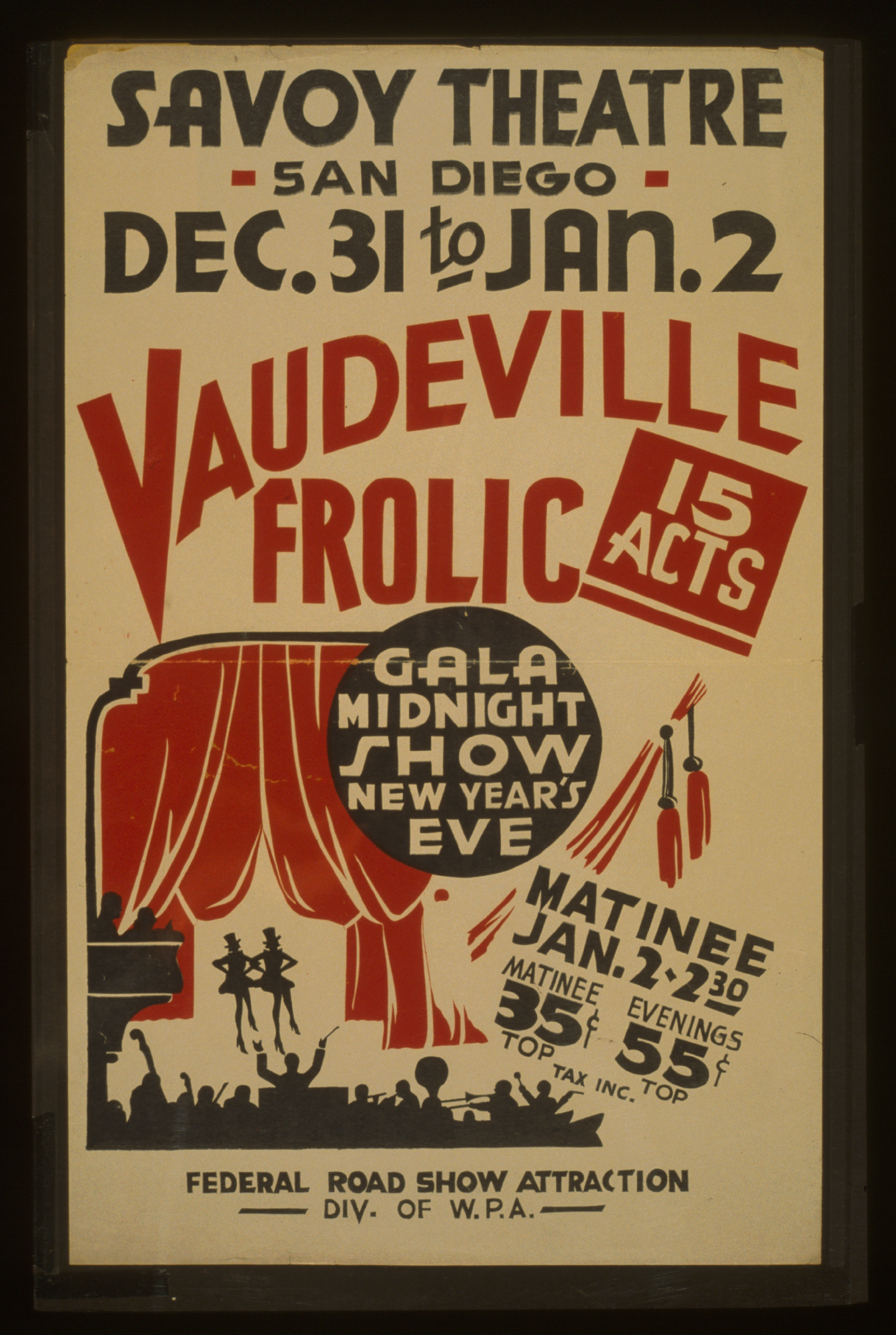 Vaudeville Frolic Gala Midnight Show New Year S Eve : 15 Acts ...