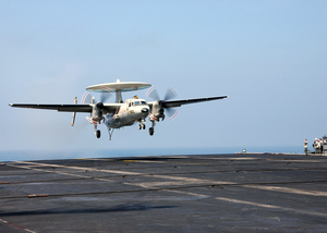An E-2c Hawkeye Makes Its Final Approach To The Aircraft Carrier John F. Kennedy (cv 67) After Completing A Training Mission. Image