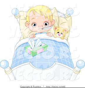 Child Sick In Bed Clipart Image