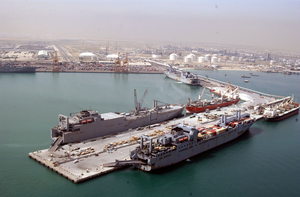 Military Sealift Command (msc) Ships Sit Tied Up To The Pier In The Port Of Ash-shu Image