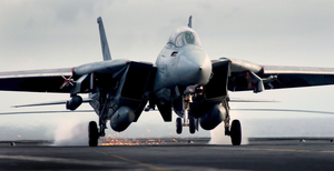 An F-14d Tomcat Assigned To The Tomcatters Of Fighter Squadron Three One (vf-31) Makes An Arrested Landing Aboard Uss John C. Stennis (cvn 74) Image