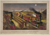 Night Scene At An American Railway Junction: Lightning Express, Flying Mail, And Owl Trains,  On Time   / Parsons & Atwater Del. Image