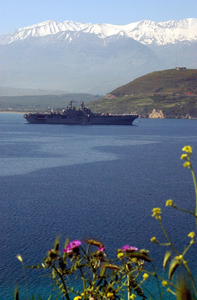 Uss Iwo Jima (lhd 7) Arrives For A Port Visit At The Port Of Souda Bay. Image