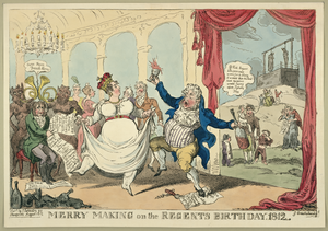Merry Making On The Regents Birth Day, 1812  / G. Cruikshank. Image