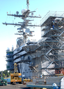 The Flight Deck Of The Uss Abraham Lincoln (cvn 72) Is Transformed Into A Construction Site During A Planned Incremental Availability Image