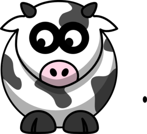 Cow Looking Left-down Clip Art