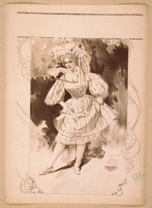 [woman Wearing Large Hat And Short Skirted Dress, Holding Up Skirt Revealing Petticoat] Image