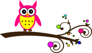 Pink Owl Colorful Branch Clip Art