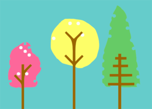 Colorful Patterned Trees Clip Art