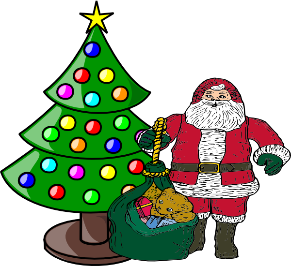 Christmas Tree With Santa Claus Clip Art at Clker.com - vector ...