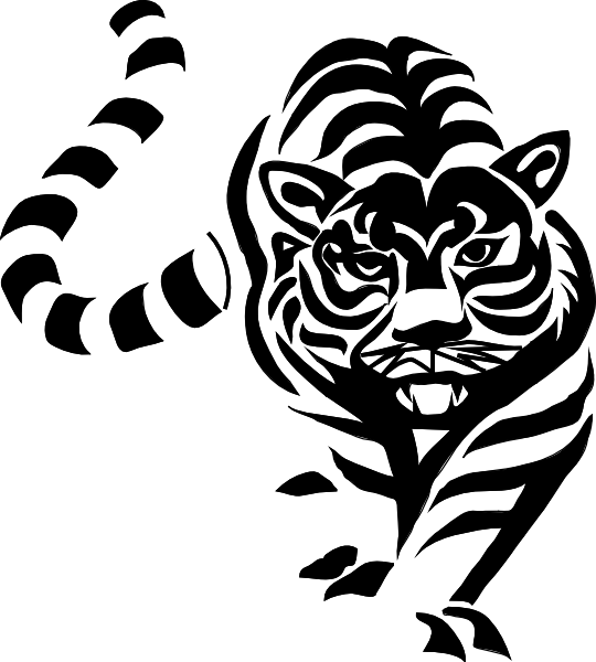 Clip Art Tiger Clipart Black And White tiger black and white clip art at clker com vector download this image as